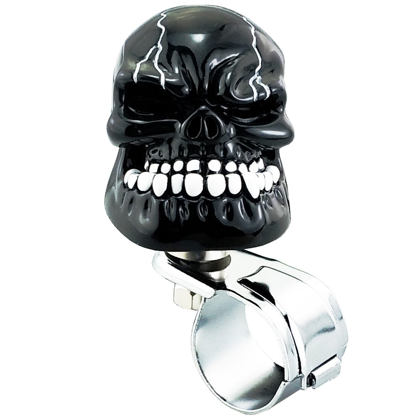 Black Lunsom Skull Steering Wheel Knob Car Suicide Spinner Grip Turning Booster Driving Power Handle Fit Universal Vehicle