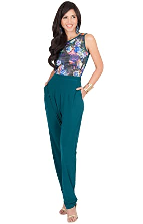 9ec71052bed KOH KOH Womens Long Sleeveless Casual Sexy Floral Print Party Pockets  Summer Work Jumpsuit Jumpsuits Romper