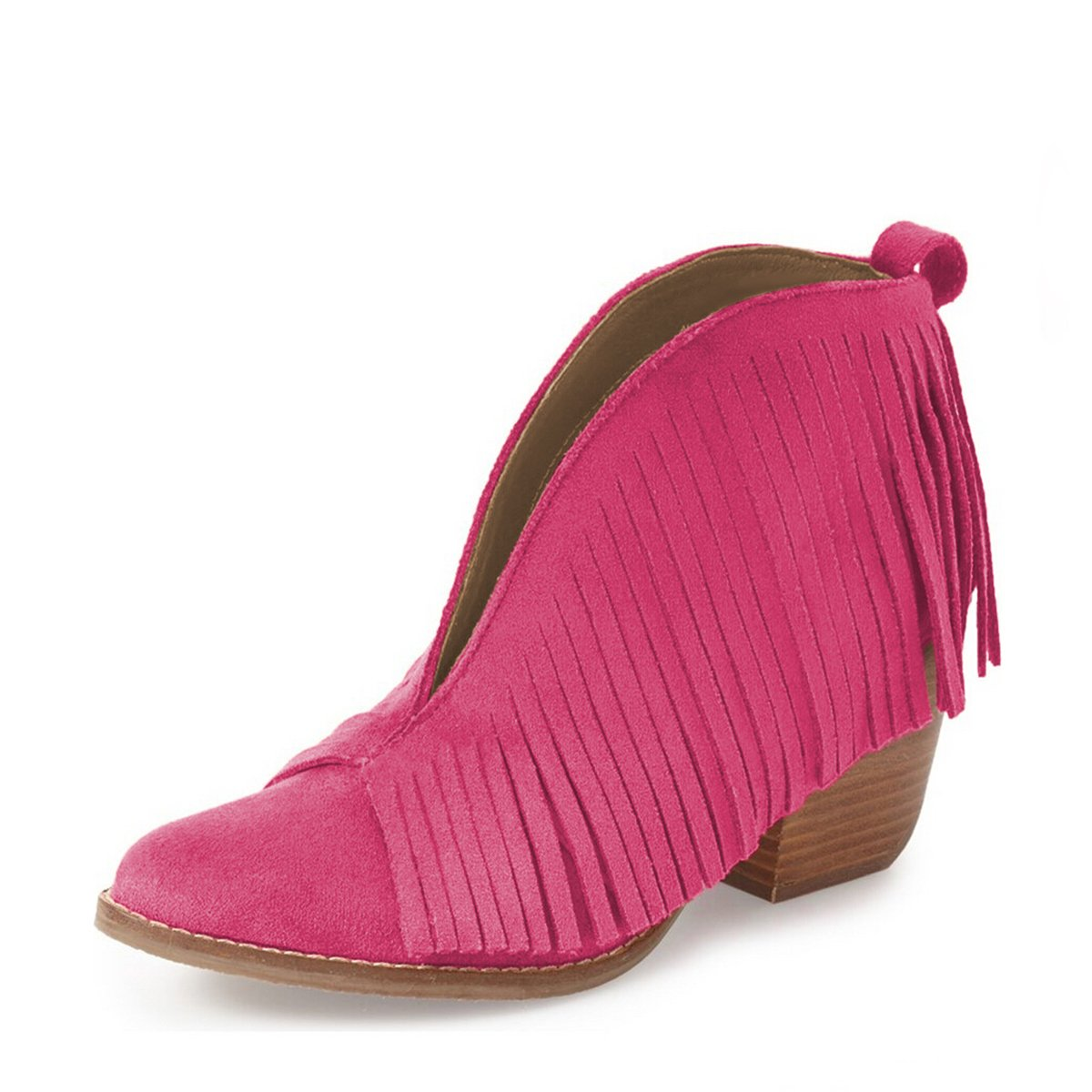 YDN Western Ankle High Boots with Tassels Round Toe Block Heel Suede Retro Booties B01KC29Y3O 11 B(M) US|Fuchsia