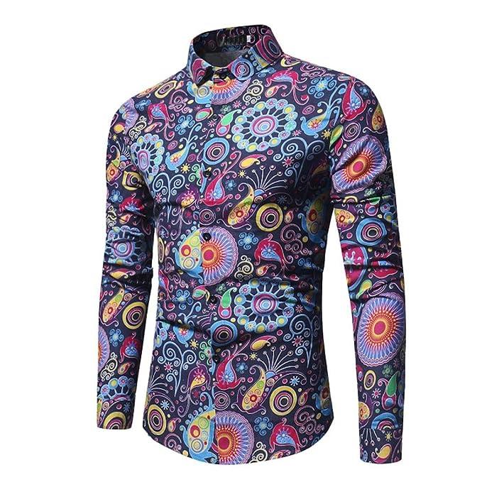 a059d15b1c87 Easytoy Fashion Floral Print Dress Shirt Men s Casual Slim Long-Sleeved  Printed T Shirt (