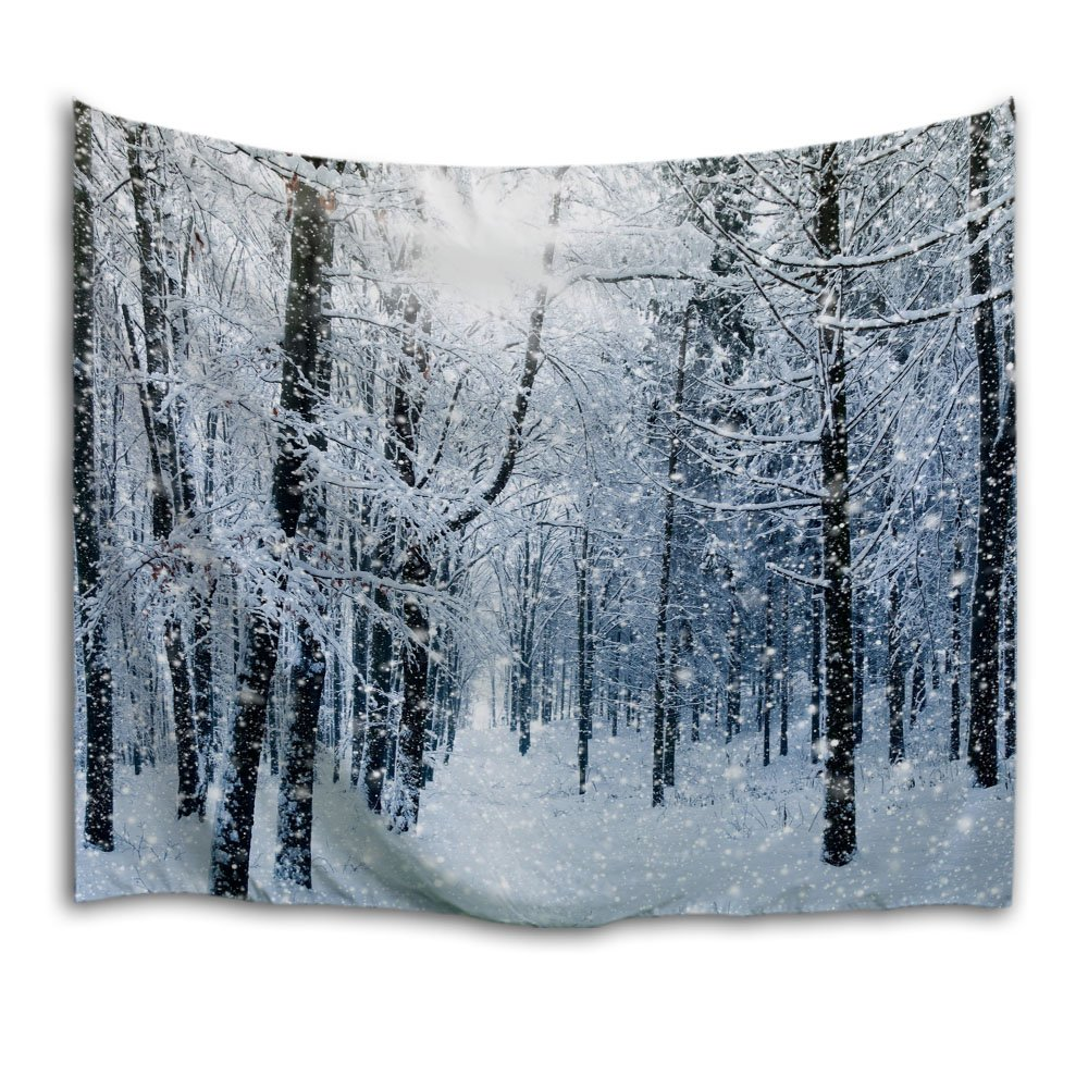 "QiyI Home Christmas Decor Light-Weight Polyester Fabric Tapestry-Romantic Pictures Art Nature Home Decorations-90 L x 60"" W(229cmx153cm)-Snow in The Woods"