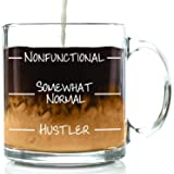 Nonfunctional Funny Glass Coffee Mug - Best Christmas Gift For Men & Women - Fun & Unique Office Cup - Novelty Birthday Idea For Friends, Mom, Dad, Husband, Wife, Boyfriend, Girlfriend, Coworkers