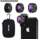NELOMO Universal Professional HD Camera Lens Kit for iPhone X/8/7Plus/7/6sPlus/6s, Samsung S8+/S8 and other Cellphones Smartphones(230° Fisheye Lens, 0.65X Super Wide Angle Lens, 15X Super Macro Lens)