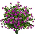 Artificial Flowers, Fake Outdoor UV Resistant Plants Faux Plastic Greenery Shrubs Indoor Outside Hanging Planter Home Kitchen