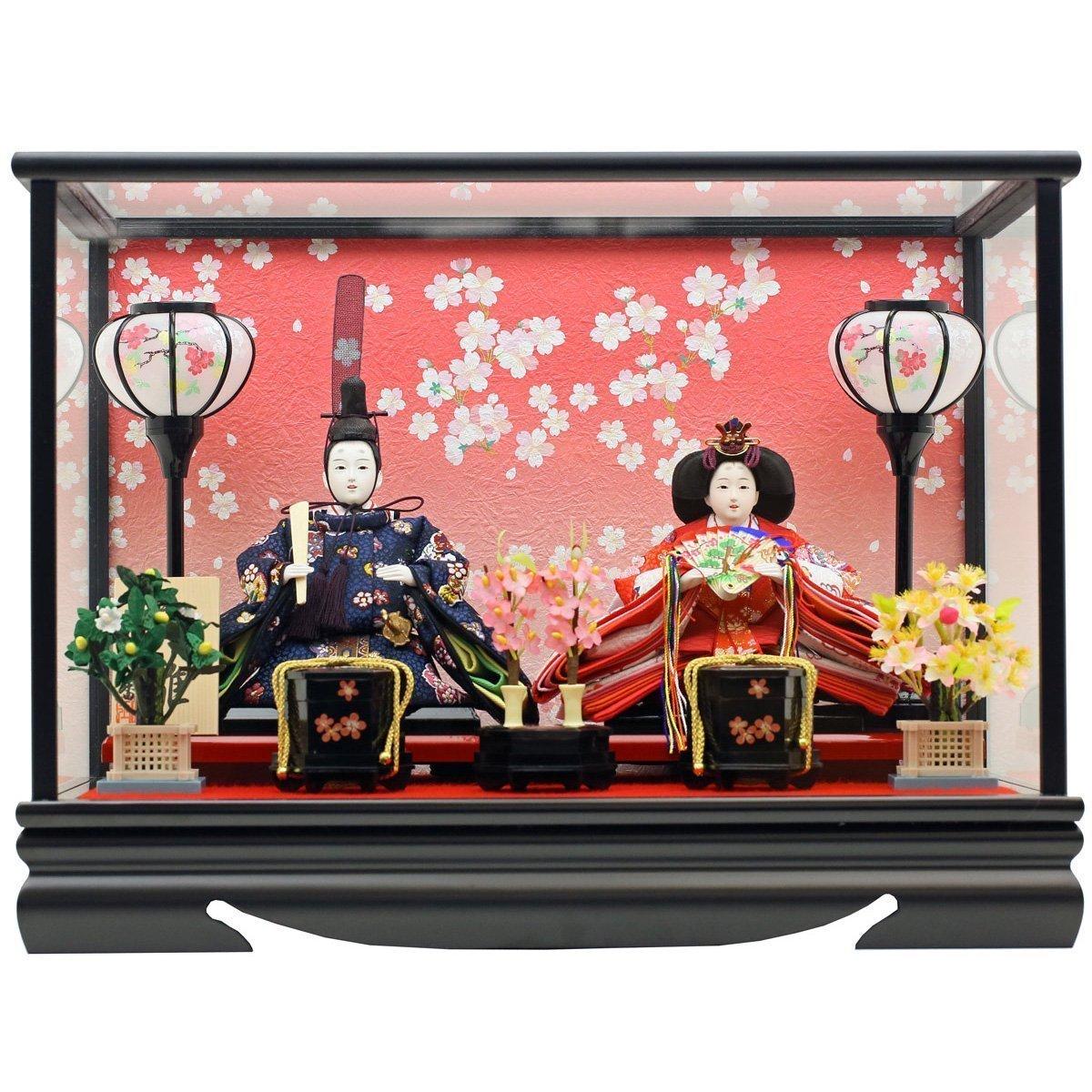 人形工房天祥 雛人形 ケース飾り 親王飾り 衣装着「親王飾り 吉野雛」 横幅47×奥行33×高さ36(cm) 15ao-yosino-a   B00SCSN054