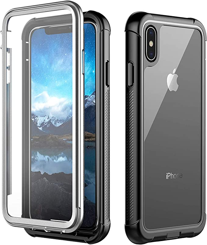 iPhone Xs Max Case,Built in Screen Protector Cover 360 Degree Protection Rugged Clear Bumper Case for iPhone Xs Max 2018 Release (6.5 inch)