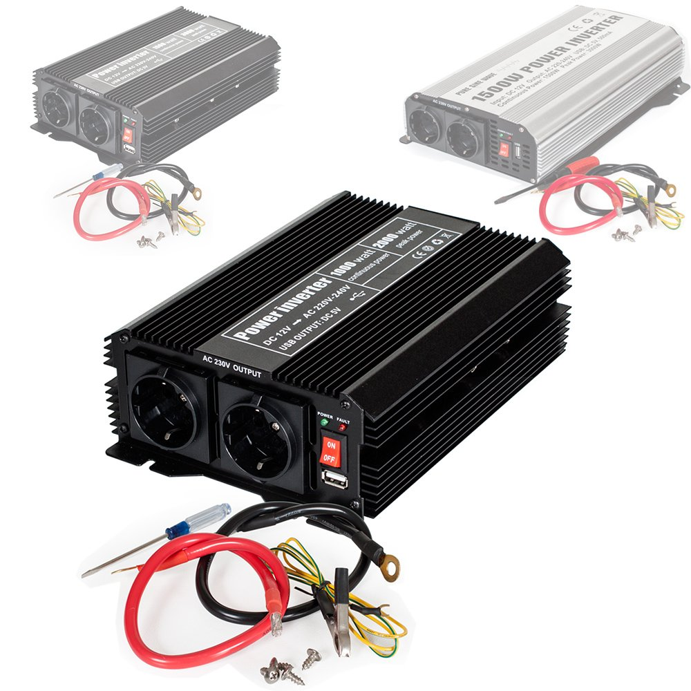 TecTake Power Inverter Modificata onda 12 V / 220 V 1000W 2000W 3000W - modelli differenti - (Tipo1 (No. 400976)) 800115