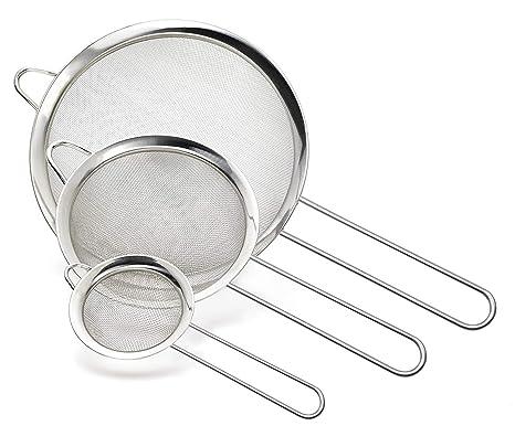 Cymax Juego de 3 coladores de Acero Inoxidable, Mango Largo para té, Pasta, arroz, Frutas y Verduras