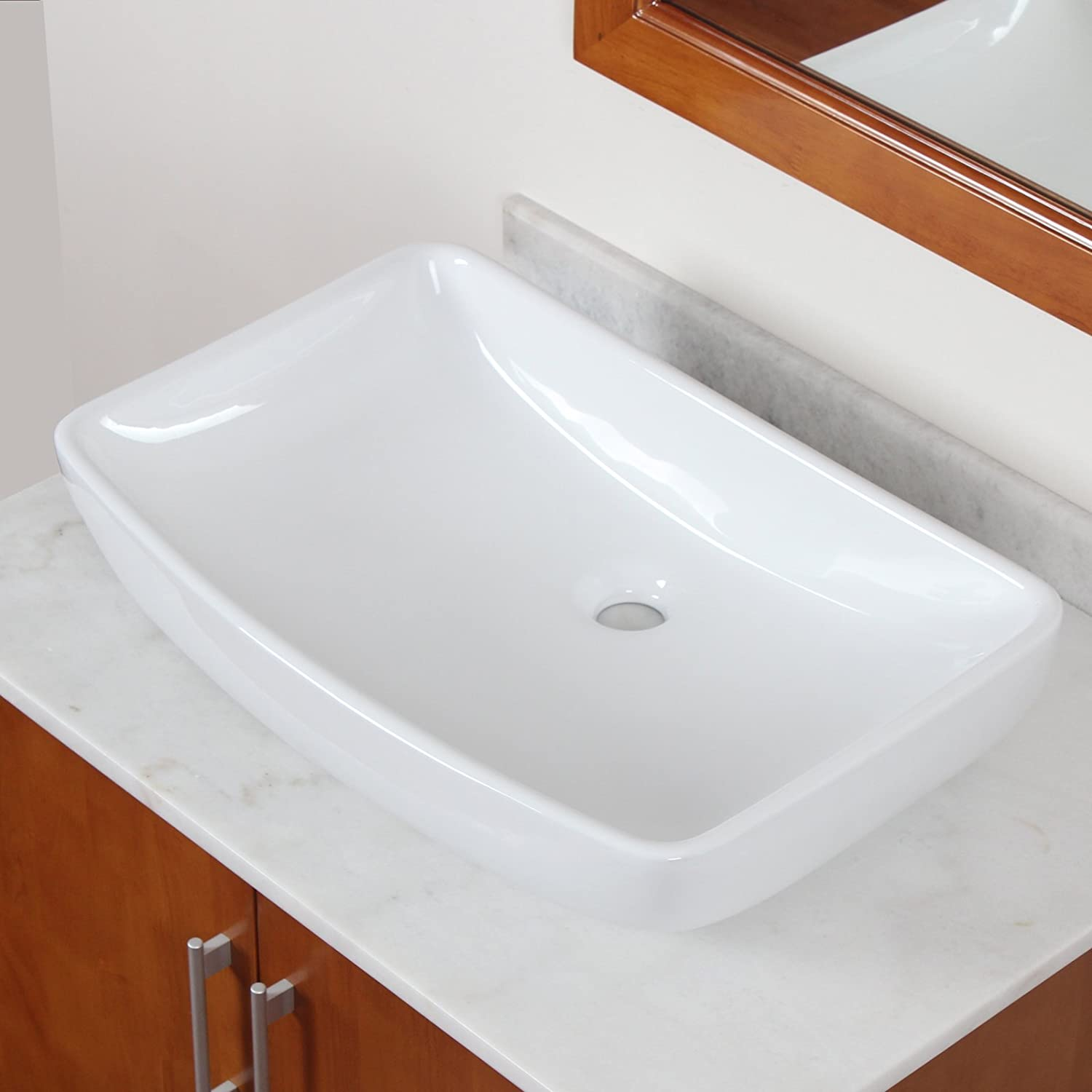 ELITE 10059 High Temperature Grade A Ceramic Bathroom Sink With Unique Rectangle Design, Color White