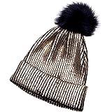 More Than Magic Girls Metallic Purple Sparkle Knit Pom Beanie Stocking Cap Hat