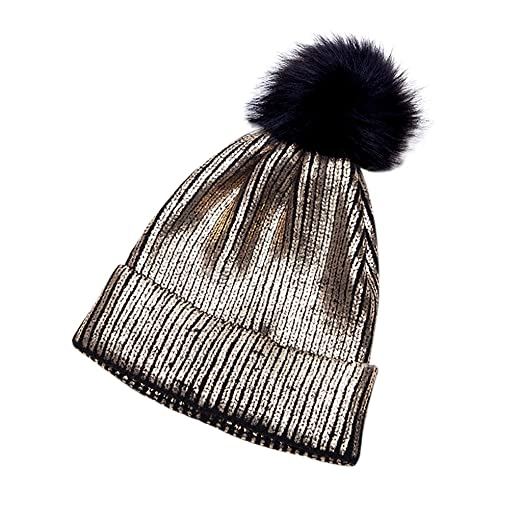 4c88cf71594 Amazon.com  Loair Women Girls Winter Warm Hat - Metallic Shiny Knitted  Crochet Beanie Hat With Pom Pom (Gold)  Clothing