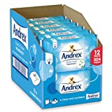 Andrex Washlets Flushable Toilet Tissue Wipes, Classic Clean - Pack of 12 (Total 504 Wipes)