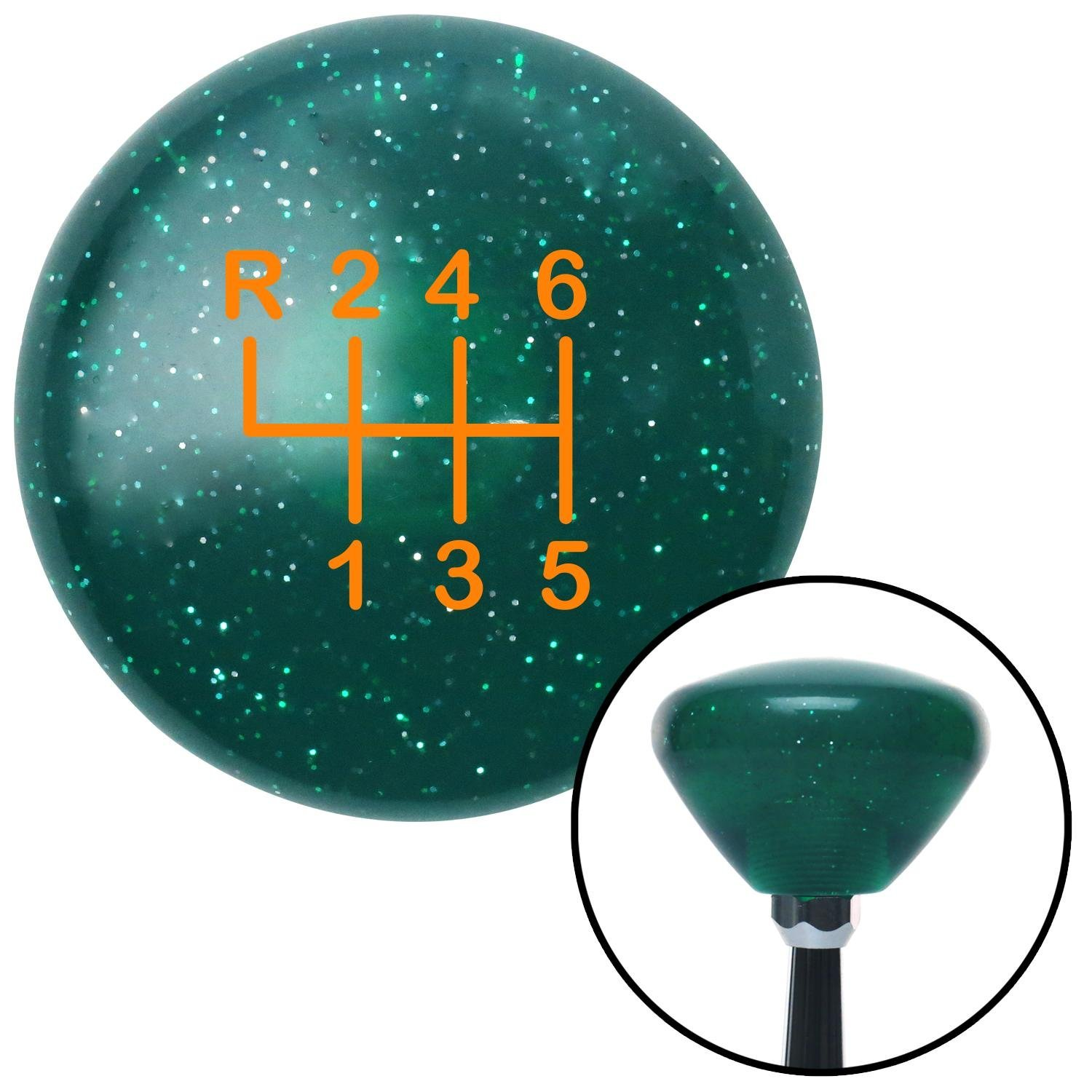 American Shifter 208478 Green Retro Metal Flake Shift Knob with M16 x 1.5 Insert Orange Shift Pattern 19n