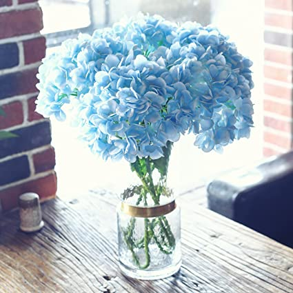 Amazon.com: PARTY JOY 5PCS Artificial Hydrangea Silk Flowers Bouquet ...