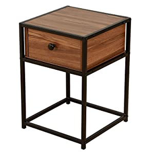 INDIAN DECOR 4565 Mid-Century Style Walnut Colour Bedside Table Nightstand End Table with Black Metal Frame