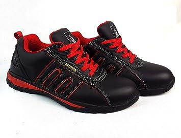 Zapatos de seguridad con puntera de acero para hombre o mujer, piel sintética, Red/Black, 9: Amazon.es: Hogar