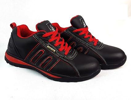 Zapatos de seguridad con puntera de acero para hombre o mujer, piel sintética, Red