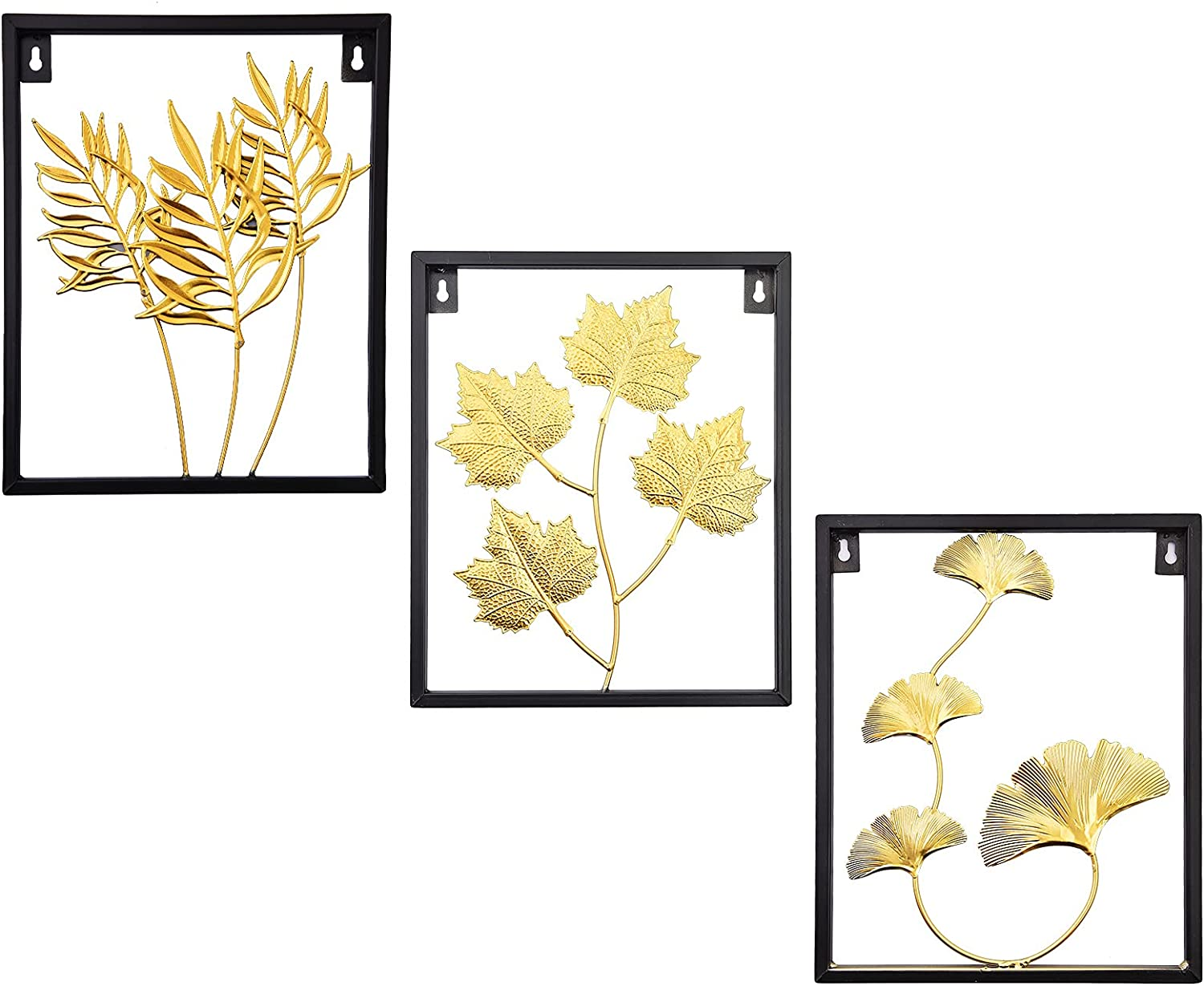 Cityelf Metal Leaf Wall Art Framed Wall Décor Set of 3 Home Accent Decoration for Living Room Bedroom Office Entryway