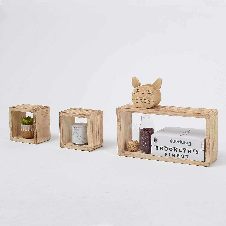 helles Holz f/ür Schlafzimmer Wohnzimmer Rebecca Mobili 3er Set B/ücherregale im Vintage -Stil HxLxB Ma/ße: 41 x 21 x 9 cm 1 rechteckig 2 W/ürfelregale RE4121 H/ängeregale aus Holz - Art