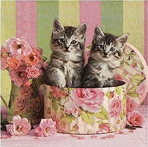 Ambiente Rose Hat Box Kittens Cocktail Beverage Paper Napkins, 20 ct