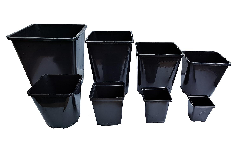 30 x Square 2 Litre Lt Plastic Plant Pots Square-Round Black Flower Pot