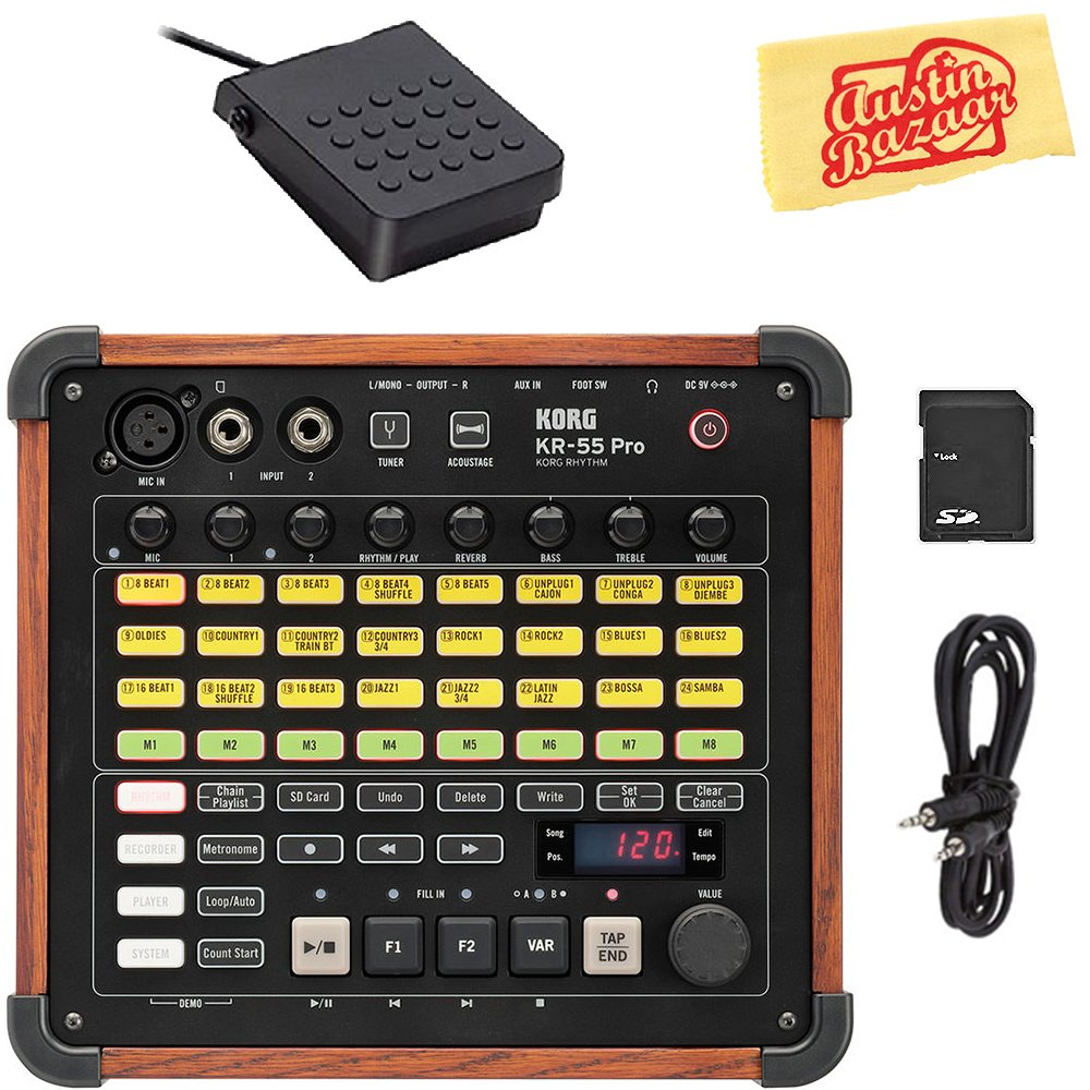 Korg KR-55 Pro Drum Machine Bundle with Footswitch, AUX Cable, SD Card, and Austin Bazaar Polishing Cloth