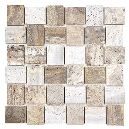 Linker Travertine Mosaic Stone Tile Smooth And Grooved Travertine - 6 inch travertine tile