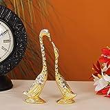 Handicrafts Paradise Pair of Kissing Swan/Duck Home Decor Showpiece - 7.25 inch (Golden)