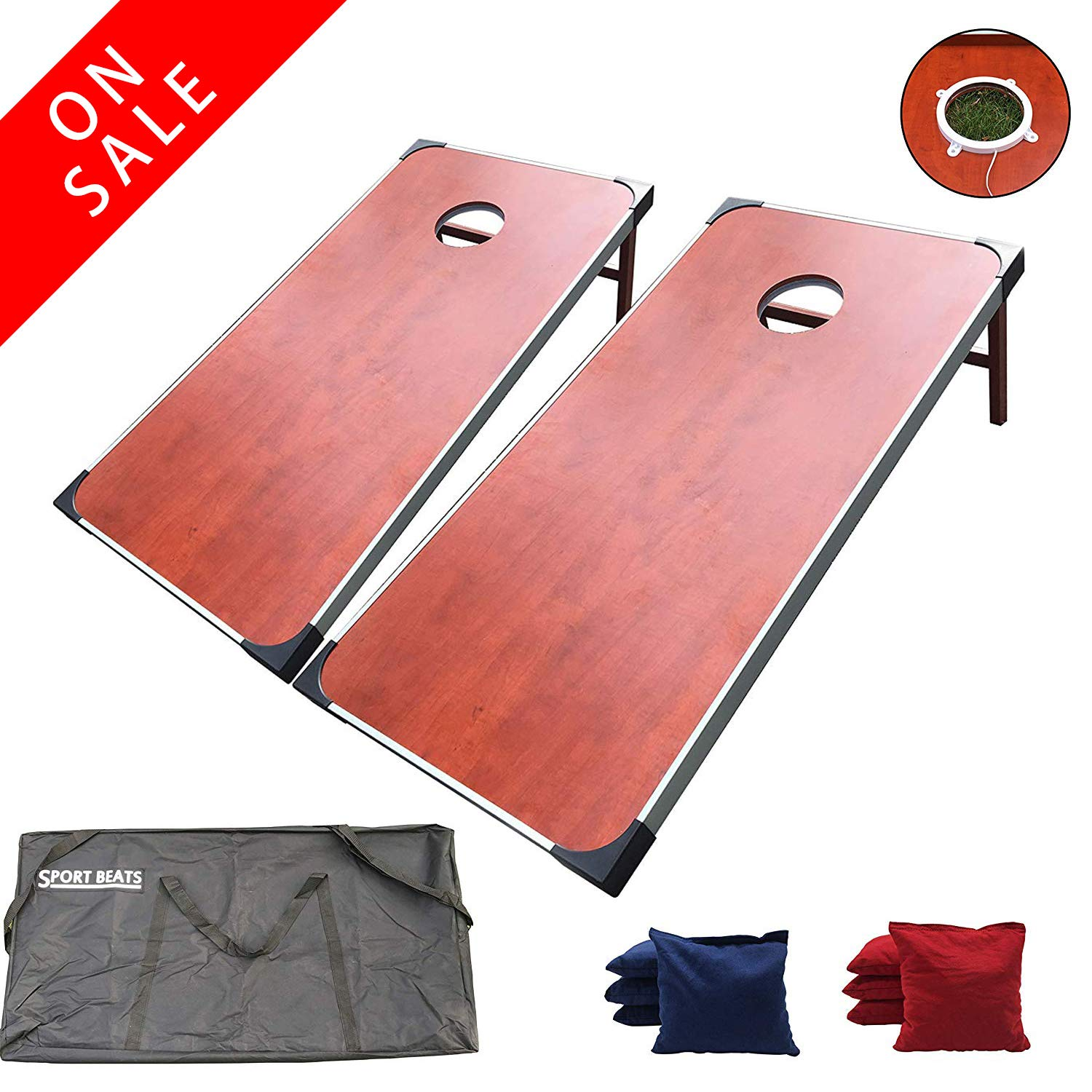 SPORT BEATS Regulation Cornhole Boards with Lights Aluminum Framed Cornhole Set - 2 x 4 Ft Tournament Size Wood Corn Hole Board Game Carrying Bag Included by SPORT BEATS