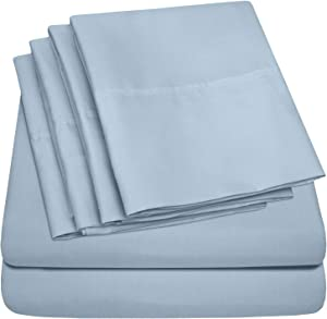 Sweet Home Collection 6 Piece Bed Sheets 1500 Thread Count Fine Microfiber Deep Pocket Set - EXTRA PILLOW CASES, VALUE, Twin, Misty Blue, 4