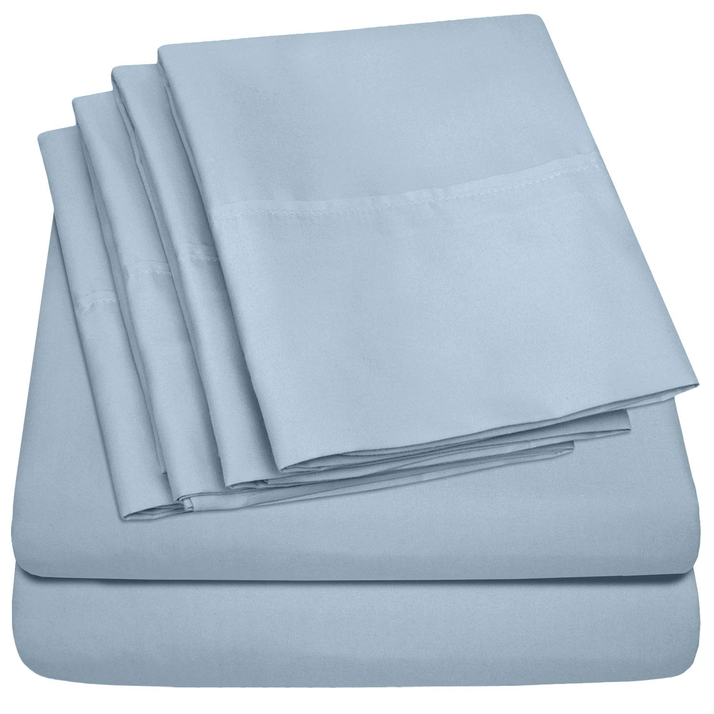 Queen Sheets Blue Misty - 6 Piece 1500 Thread Count Fine Brushed Microfiber Deep Pocket Queen Sheet Set Bedding - 2 Extra Pillow Cases, Great Value, Queen, Blue Misty