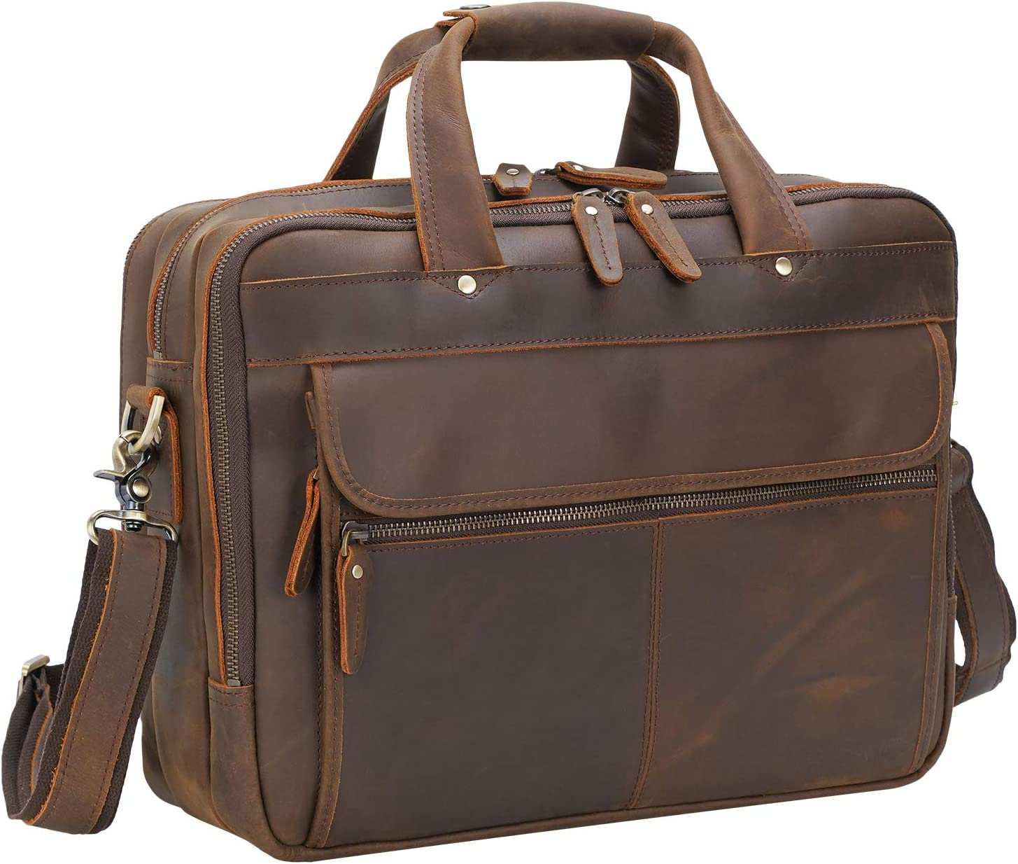 "Polare Modern Attaché Style 15.7"" Full Grain Italian Leather Laptop Business Briefcase for Men"