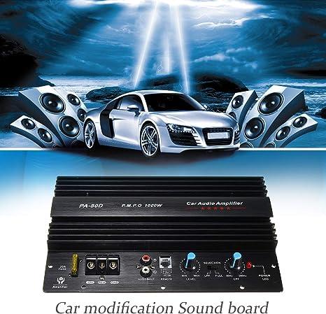 FairytaleMM 12V 1000W Tablero del Amplificador Mono Car Audio Amplificador de Potencia Potente Subwoofers bajo Amplificador para la modificación del Coche PA-80D