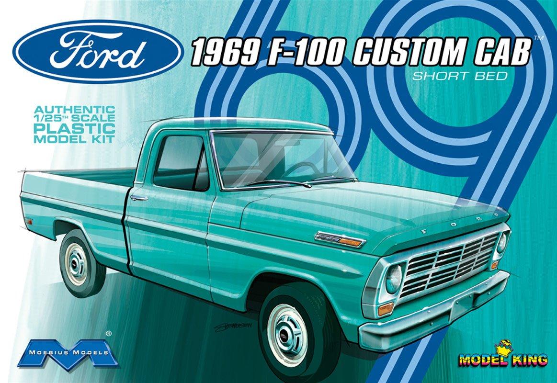 Moebius 1969 Ford F 100 Custom Cab Short Bed Plastic 1955 F100 Pickup Truck Kits Model Kit Toys Games