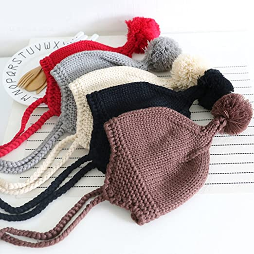 5f265bcd21d Amazon.com  Child Knit Hat Infants Baby Boy Girl Kids Warm Cap Hair Ball Hat  Knit Earflap Beanie Hat (Gray)  Baby