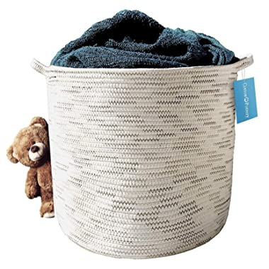 Cotton Rope Storage Basket (Natural) - Blanket, Baby Toys, Pillows, Towels, Laundry, Nursery Hamper/Organizer - Large 17 x15  Round Woven Baskets with Handles - Living Room Farmhouse Decor