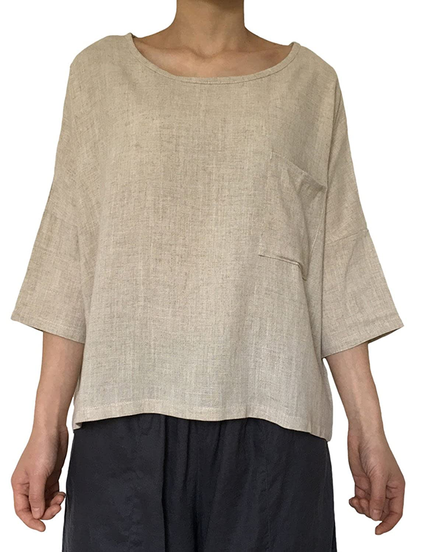 a8375817133 Amazon.com  Aeneontrue Women s Linen Cotton Casual Short Sleeve Tops  T-Shirts Blouses Tees  Clothing