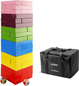 Lewo Wooden Giant Stacking Games Hardwood Blocks Tumble Tower Building Toys 54 Pieces with Storage Bag