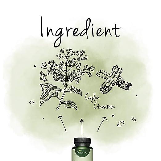 Canela de Ceylán Vegavero® | 2000 mg | Digestión + Afrodisíaco | Sin Estearato de Magnesio | 120 Cápsules | Apto para Veganos