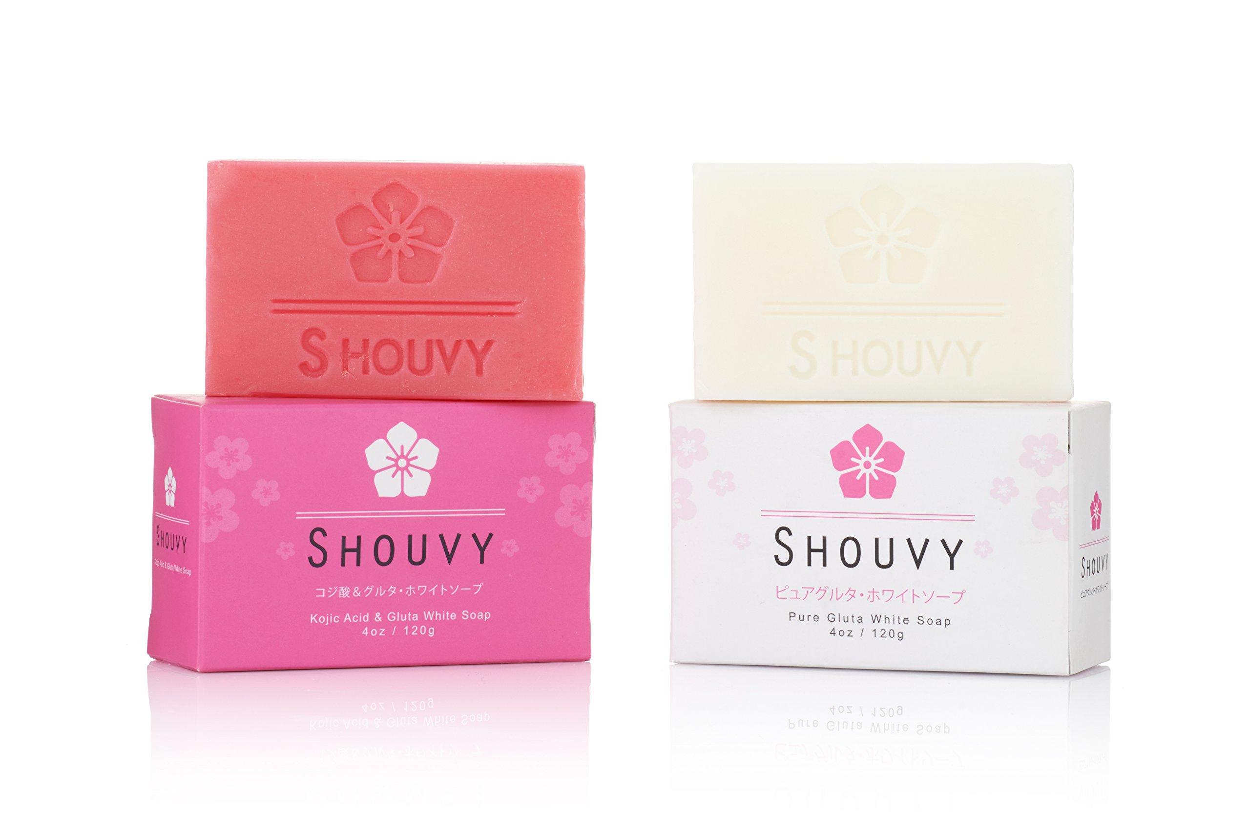 SHOUVY Glutathione White Soap - For Brighten With Coconut Oil & Vitamins C, B3-4 Oz