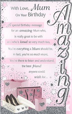 Mum Birthday Card With Love Mum On Your Birthday Free Uk