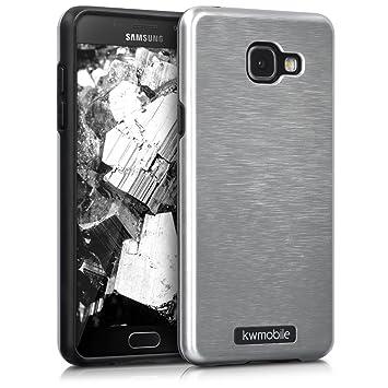 kwmobile Funda para Samsung Galaxy A5 (2016) - Carcasa [híbrida] de [TPU] con diseño de Aluminio Cepillado en [Plata]
