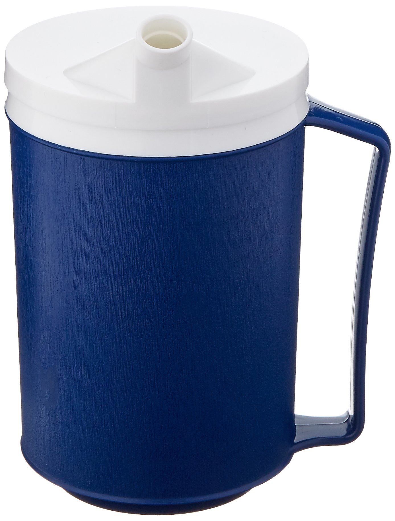 Sammons Preston Insulated Mug with Snorkel Lid, Durable Container for Hot and Cold Liquid Beverages, Tea, Smoothies, 12 oz Blue Travel Coffee Cup with Lid for Elderly, Disabled, Handicapped, Weak Grip by Sammons Preston