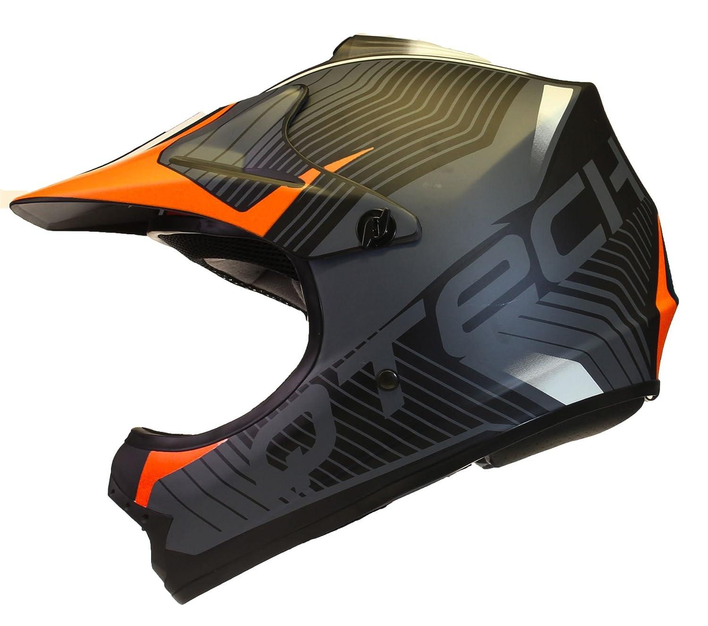 M Orange Casque de Moto pour Enfant Motocross Cross Off-Road Noir Mat ATV Quad