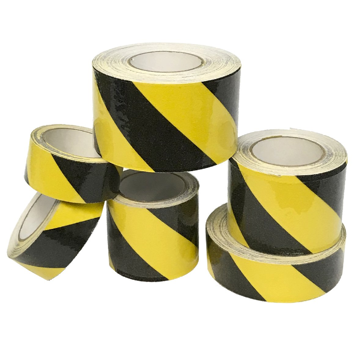 "EasyGoProducts SlipSafe Caution Yellow Black Anti Slip Tape – Indoor Outdoor Caution Yellow Black Safety Tape – Highest Traction Non Skid Tape - Non Slip Traction – 2"" and 4"""