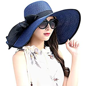 caef0779fa98a DRESHOW Floppy Beach Hat for Women Large Brim Straw Sun Hats Roll up  Packable UPF 50
