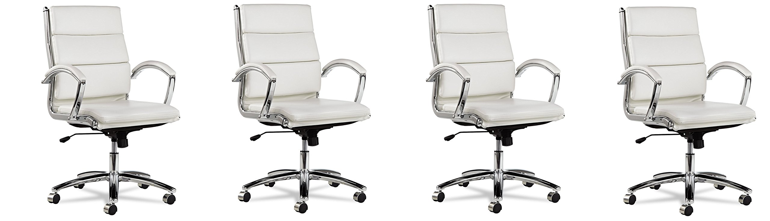 Alera Neratoli Mid-Back Swivel/Tilt YPGsML Chair, White Faux Leather, 4 Chairs