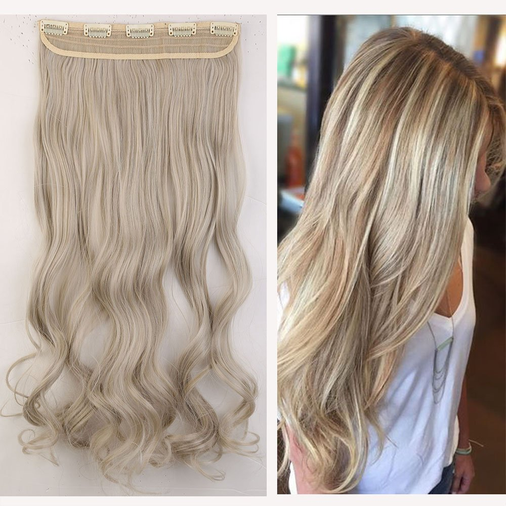 Mix colored one piece clip in hair extensions 2461cm curly ash mix colored one piece clip in hair extensions 2461cm curly ash blonde mix silver grey amazon beauty pmusecretfo Images