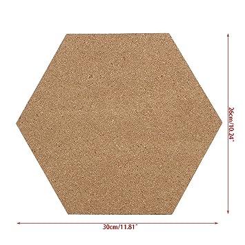 Kalttoy Pizarra de corcho hexagonal con parte trasera ...