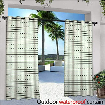 Mint Green Outdoor  Free Standing Outdoor Privacy Curtain Modern Design  With Dots Abstract Bold Lines
